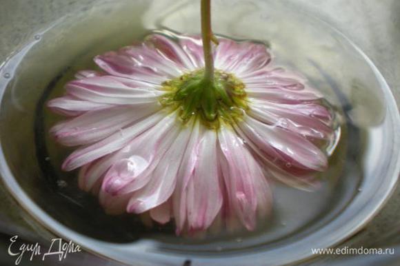 Окунуть цветок или при помощи кондитерской кисточки нанести белок.