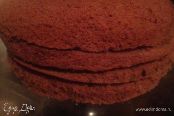 Выложить тесто в застеленную пергаментом и смазанную маслом форму и выпекать в разогретой до 180-200 градусов духовке примерно 30 мин. (до пробы на чистую палочку). Остудить, вынуть из формы и разрезать на 3-4 коржа. Пропитать коржи кофе из 1 стакана воды и 4 ст.л. растворимого кофе с добавлением кофейного ликера (коньяка, рома).