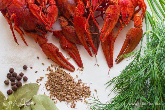 Сварить раков в большом количестве воды с добавлением соли, перца горошком, укропа, укропного семени и лаврового листа. Остудить и очистить.
