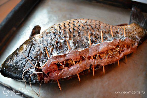 """С помощью металлических, а если нет - деревянных шпажек, зубочисток соединяем рыбу. А кулинарной нитью делаем """"шнуровку"""", слегка подтягивая нить, завязываем концы. Смазываем поверхность противня и самого карпа растительным маслом. Выкладываем карп на противень и запекаем 10 мин в нагретой до 220г духовке. Затем убавляем жар до 180г и готовим ещё 30-40 мин. Таким образом поверхность рыбы получится с красивой румяной корочкой, а внутри рыба будет сочной."""