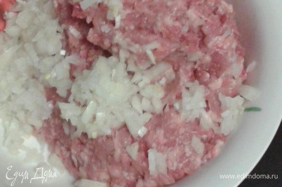 Берем фарш приготовленный из 50% индейки, 50% курицы, добавляем мелко порезанный лук, солим, перчим.