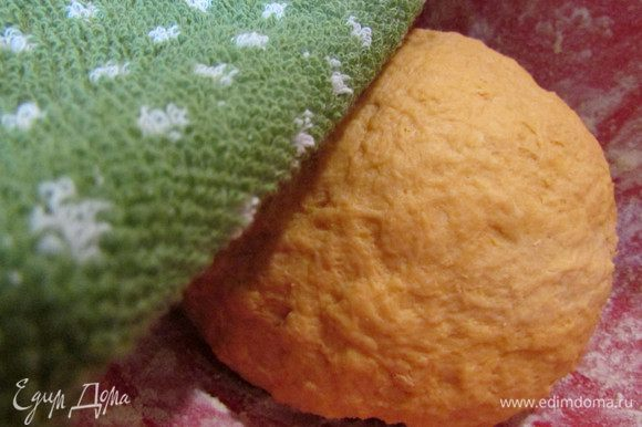 Добавить остальную муку (у меня ушло меньше муки). Замесить мягкое(липучее) тесто. Накрыть салфеткой и убрать в теплое место на 1,5 часа.