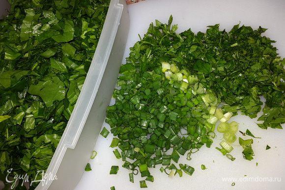 Режем шпинат и зелень.