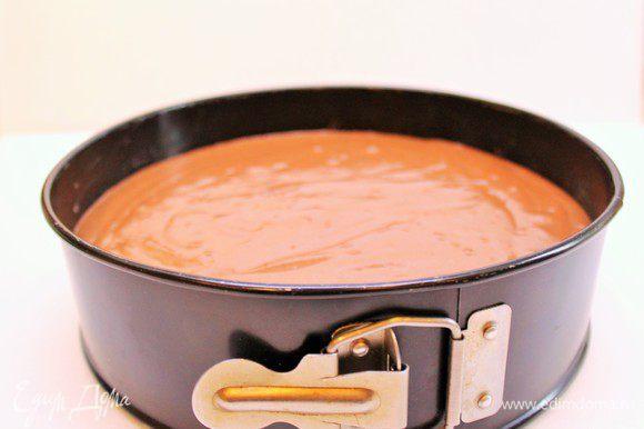 Форму застелить пергаментом. Вылить смесь в круглую или квадратную форму размером 18-20 см. Выпекать в предварительно нагретой духовке до 170°С около 1 час. Время выпекания до 1 часа в зависимости от вашей духовки. Проверяйте готовность на сухость спички.