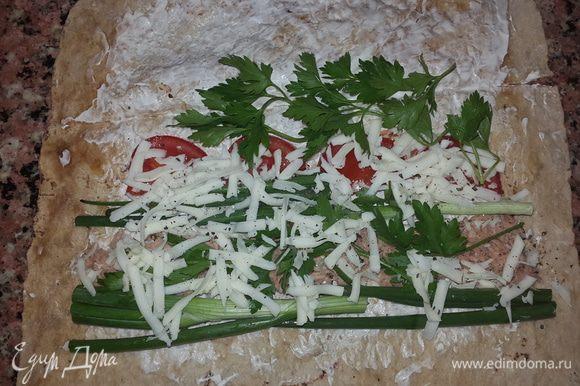 Выкладываем полосочкой тунец, по бокам раскладываем лук в 2 ряда, следом рядом помидоры, сверху петрушку, солим, перчим и посыпаем тертым сыром.