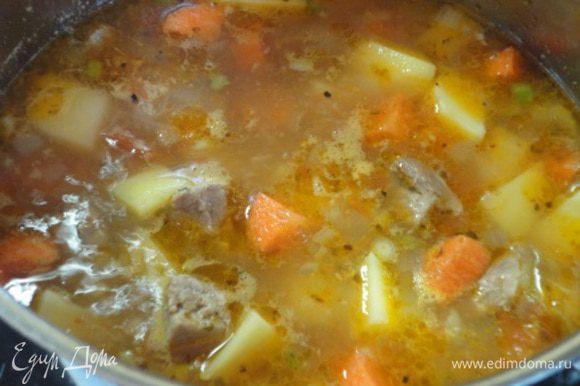 Картофель и морковь, почистить и нарезать крупными кубиками. Добавить овощи в суп, посолить, добавить орегано, перец и варить все еще до готовности овощей около 20 минут.
