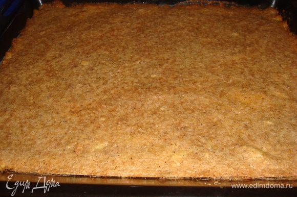 Выложить ореховую массу на тесто и выпекать 25-30 минут. Вынуть тесто с духовки, дать остыть.