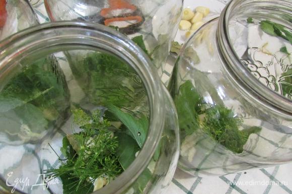 На дно стерилизованных банок положить подготовленные листья и специи.