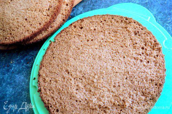 Готовый бисквит охладить, перевернув форму на решетку. Разрезать бисквит на 3 пласта.