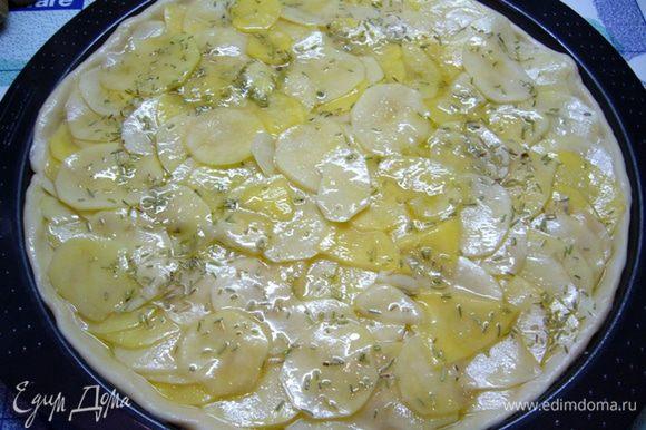 Выложить кружки картофеля внахлест, посыпать розмарином. В миске из-под картофеля останется жидкость, ее вылить сверху на картошку. Выпекать пиццу 30 мин.