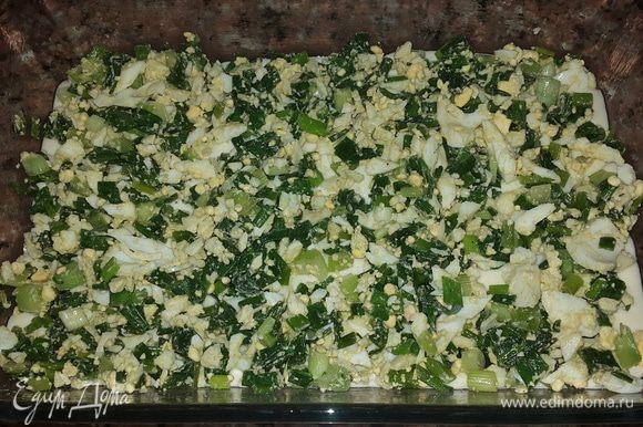 Форму для запекания смазываем оливковым маслом и выливаем большую часть теста. Сверху равномерно распределяем начинку.