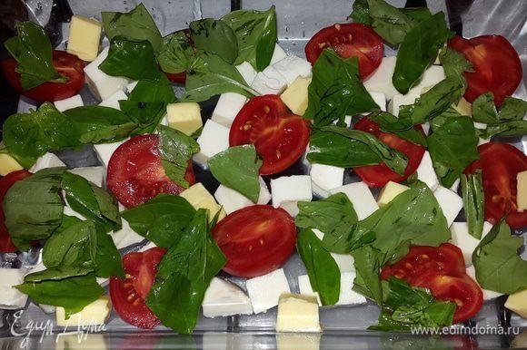 В форму для запекания равномерно выкладываем нарезанную кубиками моцареллу, сливочное масло, половинки черри и листочки базилика (рвем руками).