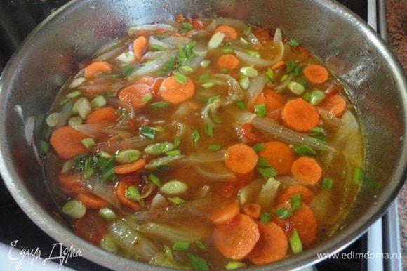 Затем влить оставшийся соус, вино, сок одного апельсина, лимонный сок, кетчуп, бульон и всыпать сахар. Помешивая довести до кипения и после того, как растворится сахар, добавить морковь с зеленым луком. Поварить под крышкой при медленном кипении 10 минут, до мягкости моркови, загустить крахмалом, разведенным в 3 ст. л. холодной воды.