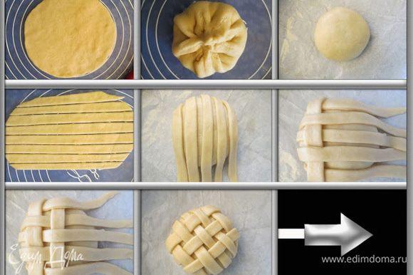 Пока тесто подходит, готовим начинку. Я использовала ягоды инжира с инжирового варенья. Инжир разрезала на небольшие части. Теперь, когда тесто готово, рабочую поверхность нужно присыпать мукой и выложить тесто. Перед тем как начать работать с ним, его нужно обмять, затем разделить на части. Работая с одной частью теста, остальные накрываем полотенцем. Из маленькой части теста раскатать круглую лепешку, диаметром примерно 20 см. В середину выложить начинку (у меня ушло 3 инжира) и залепить края. Круглую форму застелить бумагой для выпечки. В середину формы положить колобок с начинкой, швом вниз. Из другой части теста вновь раскатать лепешку и разрезать ее на параллельные полоски, шириной 8 мм. Выложить полоски на колобок в шахматном порядке (как это сделать можно посмотреть здесь http://www.edimdoma.ru/retsepty/58908-pletenye-kryshki )