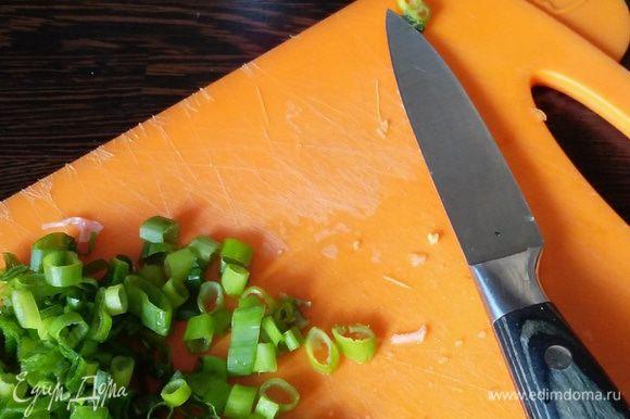 Нарезать зеленый лук. Супу дать настояться минут 10.