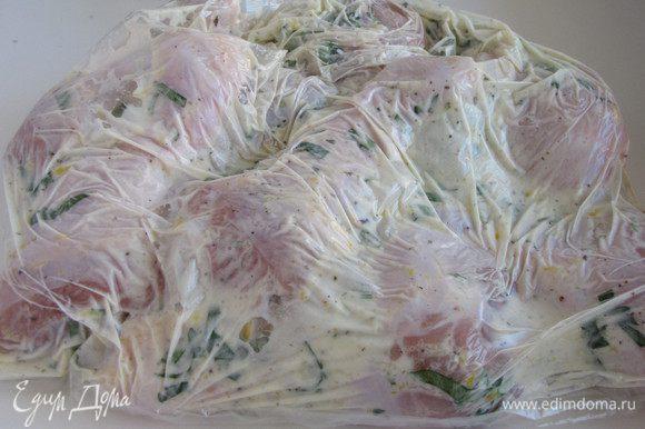 Поместить курицу вместе с маринадом в полиэтиленовый пакет, завязать пакет, не оставляя в нем воздуха. Помассировать пакет, чтобы хорошо перемешать маринад и мясо. Оставить пакет с курицей минимум на 1 час.