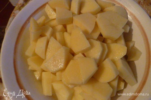 Картофель очищаем и режем на кусочки. Картофель я добавляю к мясу через 1 час его варки. Довожу до кипения, затем солю по вкусу. Варим до готовности картофеля, затем добавляю овсяные хлопья и зажарку из тыквы с морковью.
