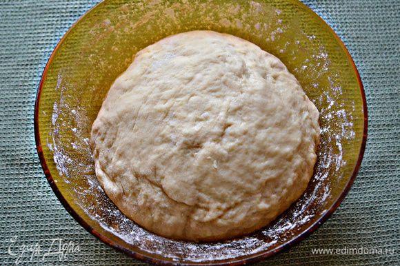 Накройте тесто полотенцем и поставьте на 30-40 минут в тёплое место. После этого слегка присыпьте мукой, затем обмять и дать подойти ещё раз.