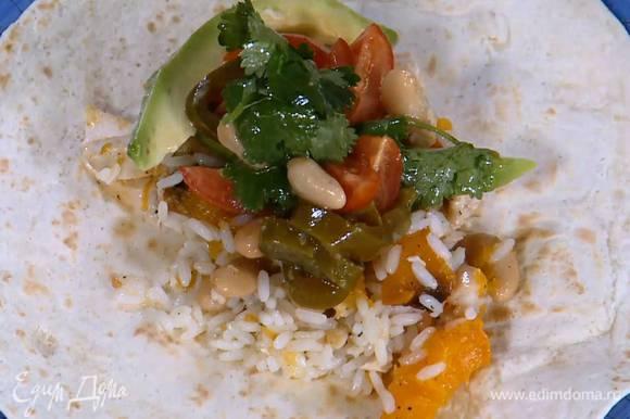 Выложить на лепешки куриную начинку, соус из авокадо и свернуть рулетом.