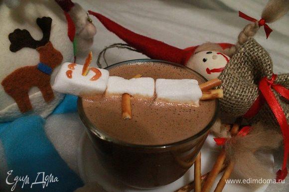 Именно такое блаженное выражение лица (как у снеговичка) будет и у вас после выпитой кружки горячего шоколада.