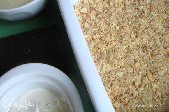 Печенье измельчить в крошку, добавить 90 грамм сливочного масла, и все вместе растереть. Измельчить все в блендере до однородного состояния, добавив бренди.