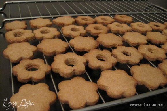 Дать печенью немного остыть на противне (сразу из духовки печенье очень мягкое и хрупкое), переложить на решетку до полного остывания.