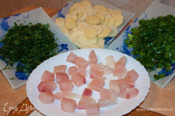 Филе рыбы вымыть, обсушить и нарезать на небольшие кубики. Зеленый лук, укроп, петрушку вымыть и мелко нарезать. Картофель вымыть, очистить и нарезать тонкими кружочками.
