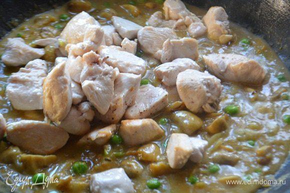 Добавить зеленый горошек, соль, перец, тушить еще 3 минуты. Выложить куриное филе, перемешать и тушить 2 минуты.