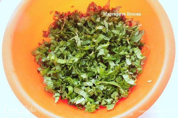 Зелень тоже промыть, просушить и оборвать листики. Но, если палочки мягкие, их тоже можно использовать. Оставить несколько листочков мяты для украшения. Остальную зелень мелко измельчить ножом. В оригинальном рецепте мята и щавель используются в равных пропорциях, но на мой взгляд, лучше брать больше щавеля, чем мяты.