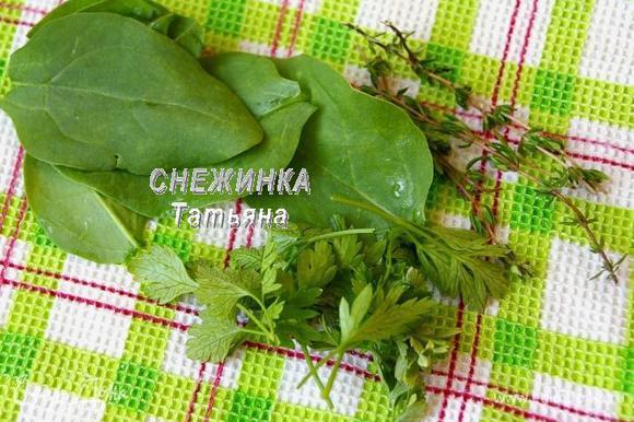 Подготовим зелень. Шпинат, петрушку и свежий тимьян промываем. Обсушиваем.