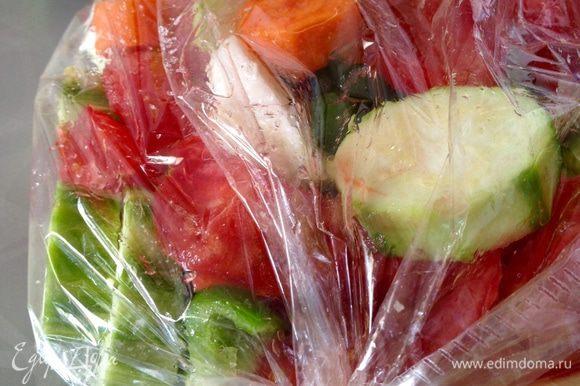 В пакет влить 2 — 3 ст. ложки растительного масла, приправить солью, сахаром и перцем, перемешать овощи руками поверх пакета. Пакет выложить на противень, сделать в пакете несколько проколов зубочисткой и поставить овощи запекаться в разогретую до 180°С духовку на 1 час.
