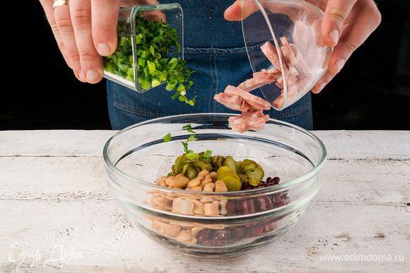 Из фасоли слить рассол, выложить ее в большую миску. Колбасу и огурцы нарезать соломкой. Зелень вымыть, обсушить. Зеленый лук нарезать колечками, с петрушки снять листики. Петрушку можно заменить на кинзу. Добавить к фасоли колбасу, огурцы и зелень, перемешать.