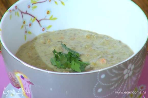 Готовый суп украсить листьями кинзы.