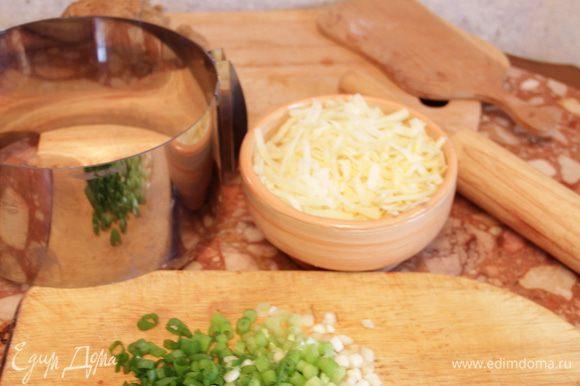 Натереть на терке сыр и нарезать лук.