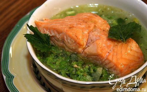 Рецепт Семга с супом-пюре из зеленого горошка