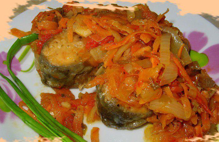 Горбуша тушеная с овощами рецепт с фото
