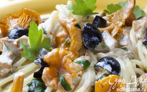 Рецепт Спагетти с лисичками и оливками