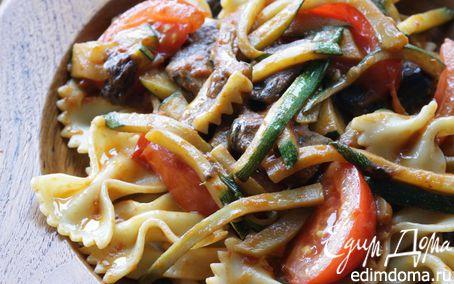 Рецепт Фарфалле с белыми грибами, кабачками и помидорами