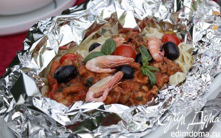 Рецепт Паста с морепродуктами, запеченная в фольге
