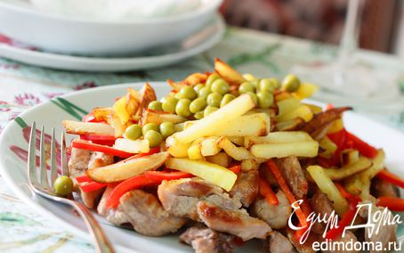 Рецепт Жаркое из мяса с жареной картошкой