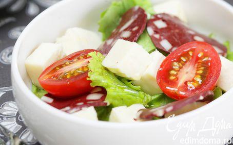 Рецепт Зеленый салат с адыгейским сыром и казы