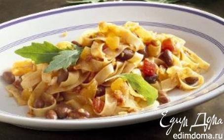Рецепт Ленточные макароны с мясным соусом и фасолью