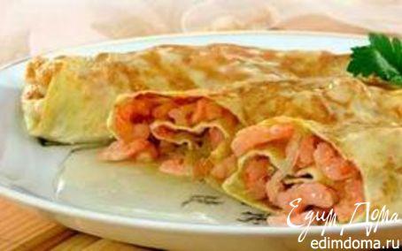 Рецепт Яичные блинчики с креветками