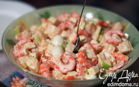Рецепт Салат с креветками, ананасом и яблоком