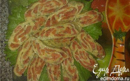 Рецепт Сырный рулет с соленой семгой