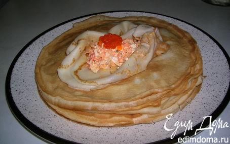 Рецепт Блинчики с начинкой из брынзы и пекинской капусты