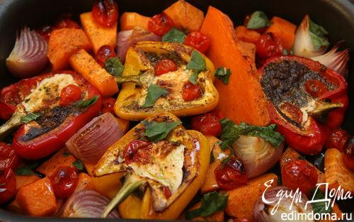 Рецепт Запеченные овощи с соусом песто из грецких орехов
