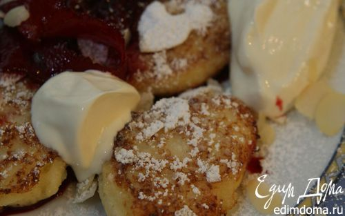 Рецепт Картофельные ромбики с манкой под вишневым соусом