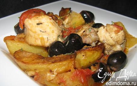 Рецепт Тушеная курица с маслинами