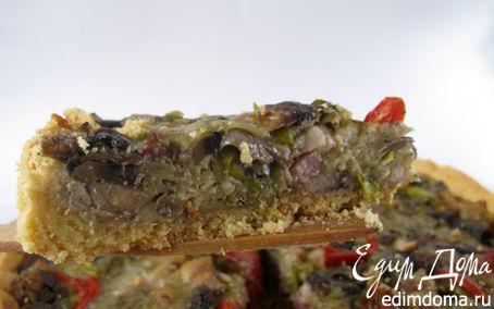 Рецепт Киш с грибами, беконом и сладким перцем
